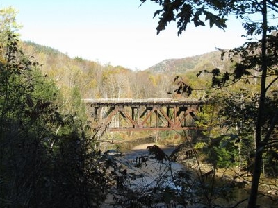 Railroad Bridge Over The Deerfield River Between Monroe And Rowe