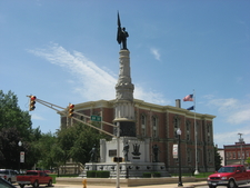 Randolph County Courthouse And Veterans Monument In Downtown Wi