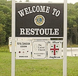 Restoule Welcome Sign