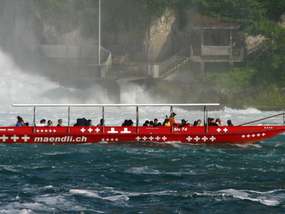 A Tourist Boat Near The Rhinefall