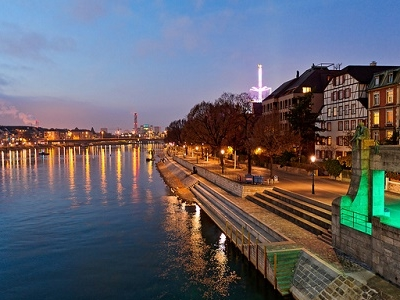 Rhine At Basel - Evening View