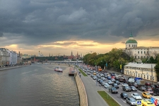 Road Beside Moskva River Sunset