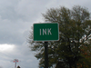 Road Marker For Ink, Arkansas.