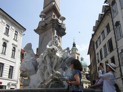 Robba's Fountain Visitors - Ljubljana
