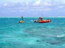 Oceanographers Deploy A Buoy Inside Rose Atoll