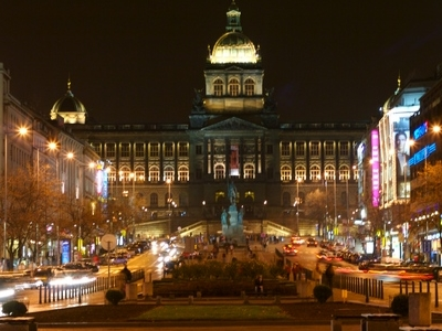 The Upper Part Of Wenceslas Square At Night