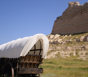 Covered Wagon On The Oregon Trail At Scott's Bluff