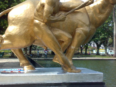 Sculpture Of  Man And  Water  Buffalo  Capitol  Lagoon  Bacolod