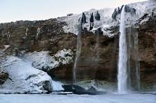 Seljalandsfoss Waterfall - Frozen Winter View