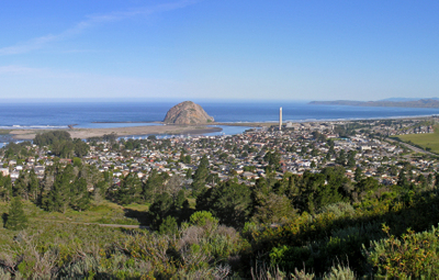 Skyline Of Morro Bay With Morro Rock In The Center