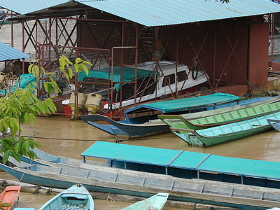 Speedboats And Longboats At Kapit Wharf Terminal