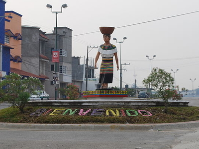 Statue Of A Maya Woman At The Central Roundabout In Ocosingo