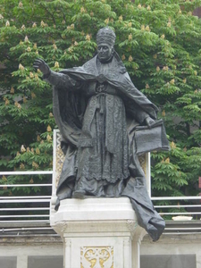 Statue Of Pope Benedict XV In The Courtyard Of The Cathedral