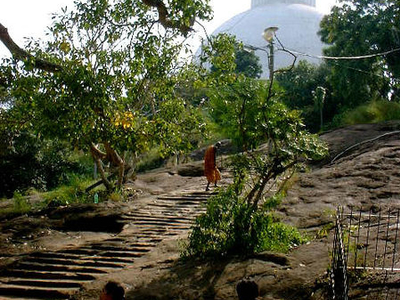 Steps Carved In Rock Near Stupa.