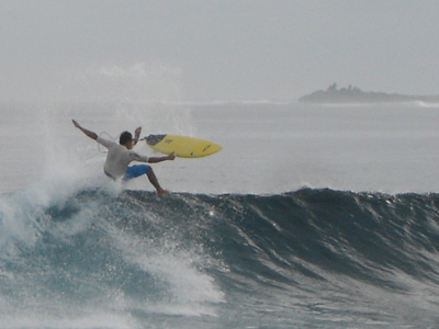 Surfing At Lohis Break Off Lhohifushi Island
