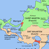 Map Showing French Saint-Martin (north) And Dutch Sint Maarten (