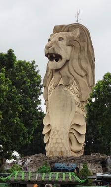 Gigantic Merlion Replica At Sentosa Island