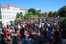 Students Gathering On The Campus