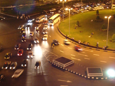 Tahrir Square At Night With Traffic Circle