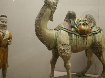 Tang  Dynasty Sancai Pottery Camel And Man