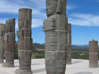 Columns In The Form Of Toltec Warriors In Tula
