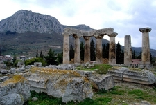 Temple Of Apollo With Acrocorinth Backdrop