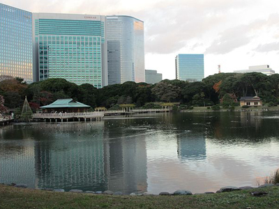 The Hama Rikyu Teahouse In The Seawater Pond