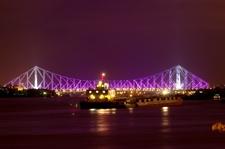 The Illuminated Howrah Bridge At Night