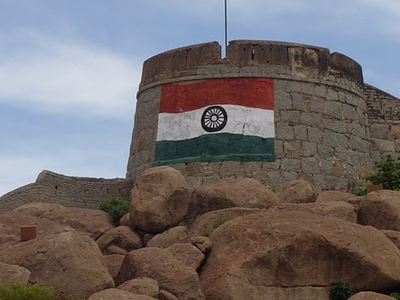 The Indian Flag Painted On The Fort