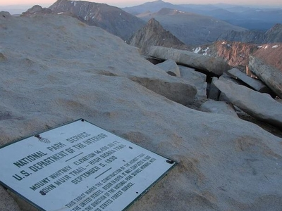 The Plaque And View At The Top Of Mt Whitney