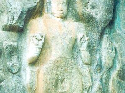 Three Buddha Statues At Buduruvagala Temple