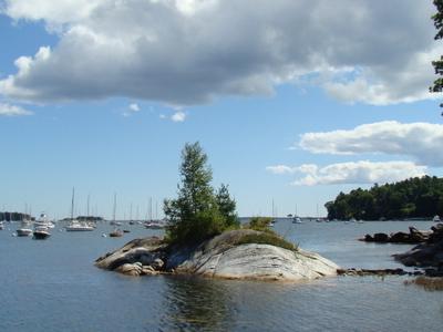 Tidal  Island In  Rockport  Harbor