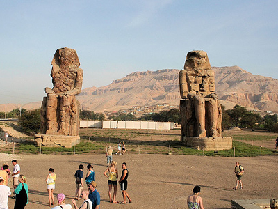 Tourists At Colossi Of Memnon
