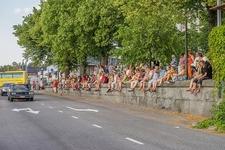 Town Folks Along Savonlinna Road In Finland