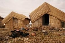 Traditional Huts Along Lake Titicaca Shoreline - Puno City Peru