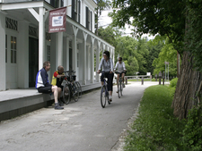 Trail Cyclists At Boston Store