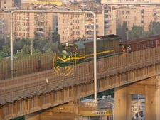 Train Crossing The Nanjing Yangtze River Bridge