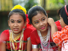 Tripuri Children Preparing For A Dance
