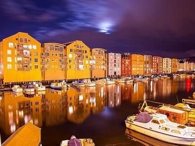 Trondheim Docks At Night