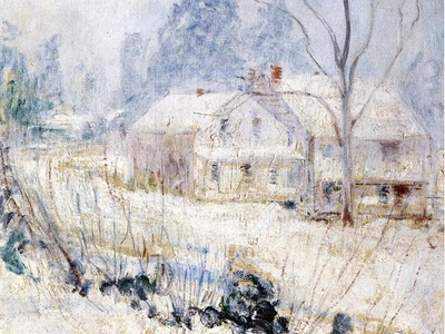 Twachtman Country House In Winter Cos Cob