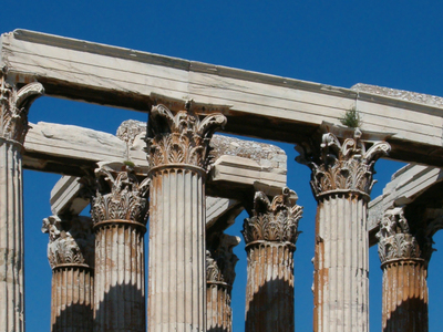 Detail Of The Temple's Corinthian Capitals And Architraves