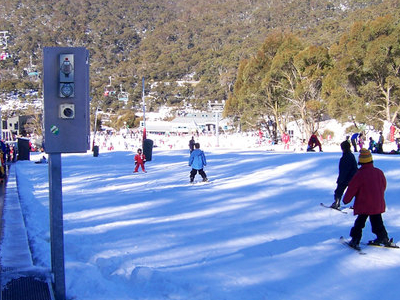 Skiing At Flat Beginners Area