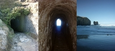 Collage Showing The Tunnel And The Beach
