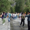Tourists Enjoying Yosemite's Tunnel View
