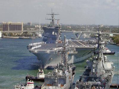 USS Enterprise Prepares To Moor At Port Everglades