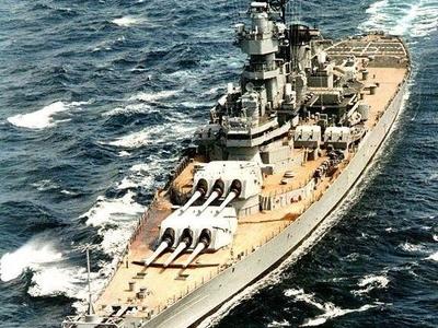 USS Wisconsin At Sea