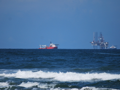 Oil Rigs And Tanker Off The Coast Of The Municipality