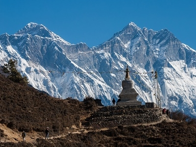 View Buddhist Stupa - Lhotse & Everest