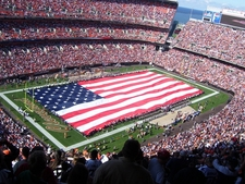 View Of The Stadium During The National Anthem
