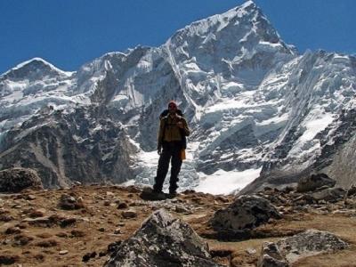 View Nuptse Behind Hiker - Sagarmatha NP Nepal
